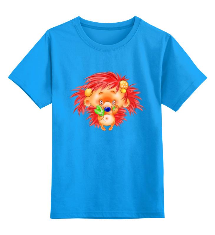 Купить 0000003414792, Детская футболка Printio Ежик цв.голубой р.104,