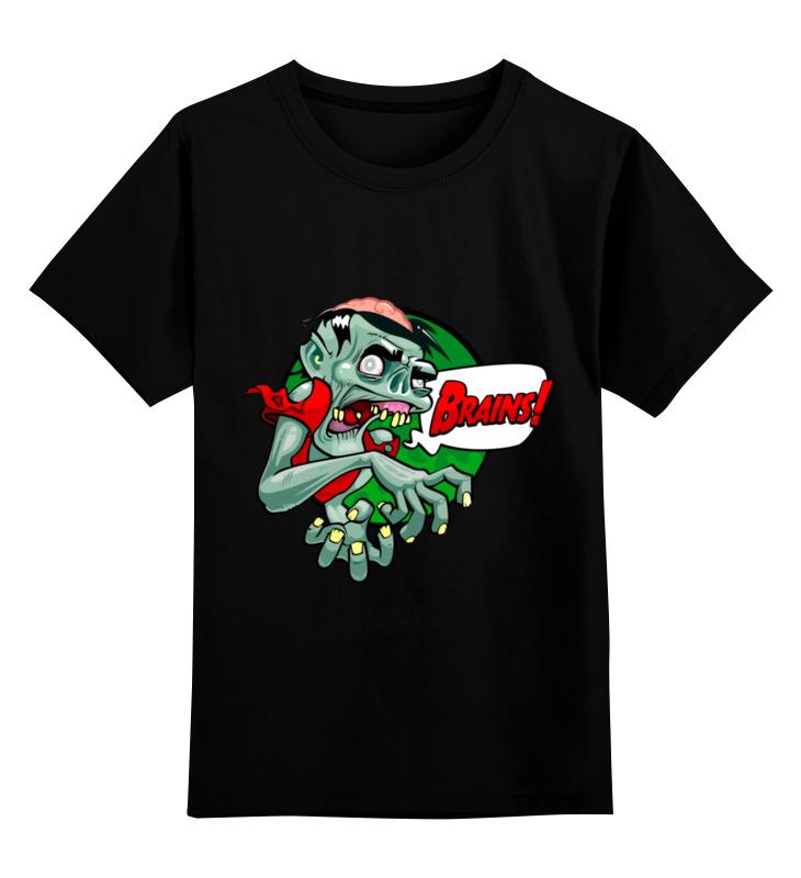 Купить 0000003444606, Детская футболка Printio Зомби цв.черный р.164,