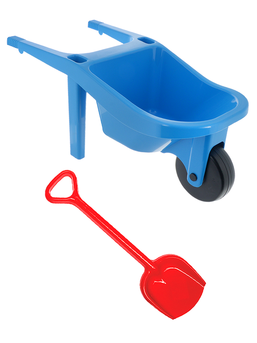 Игровой набор для песочницы Тачка большая синяя, лопатка 50 см. красная Karolina Toys