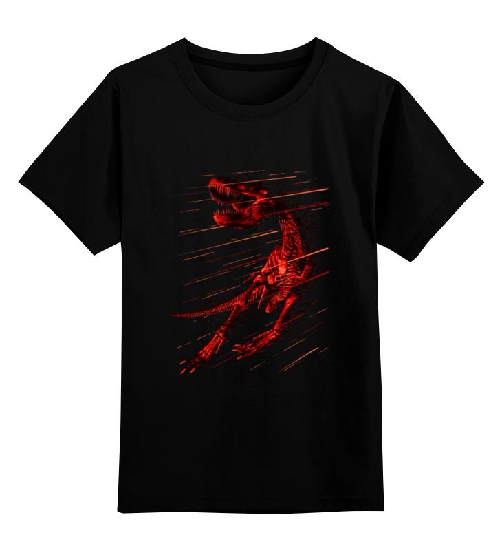 Купить 0000003486613, Детская футболка Printio Вымирание динозавра цв.черный р.140,