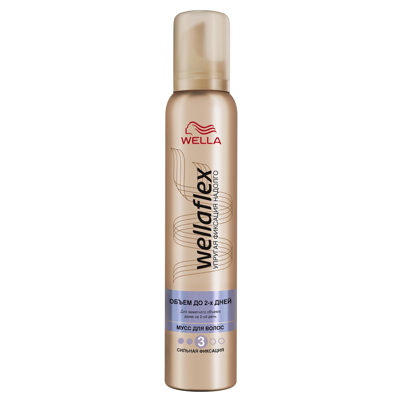 Купить Муссдля укладки волос Wella Wellaflex Объем до 2-х дней сильная фиксация, 200мл, wellaflex Объем до 2-х дней сильная фиксация 200 мл