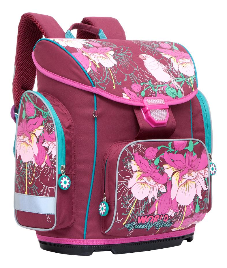 Купить Фиолетовый, Рюкзак для школы Grizzly RA-676-1 фиолетовый, Школьные рюкзаки для девочек