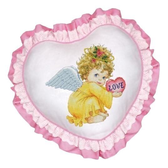 Вышивка для детей Белоснежка Подушка. Маленький ангел (Рюшка розовая)
