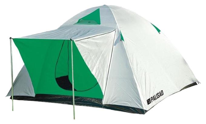 Палатка Palisad Camping трехместная белая/зеленая/черная
