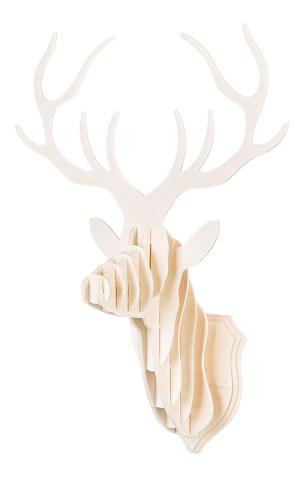 Купить Деревяная голова оленя, 3D-пазл Bondibon 14 деталей,