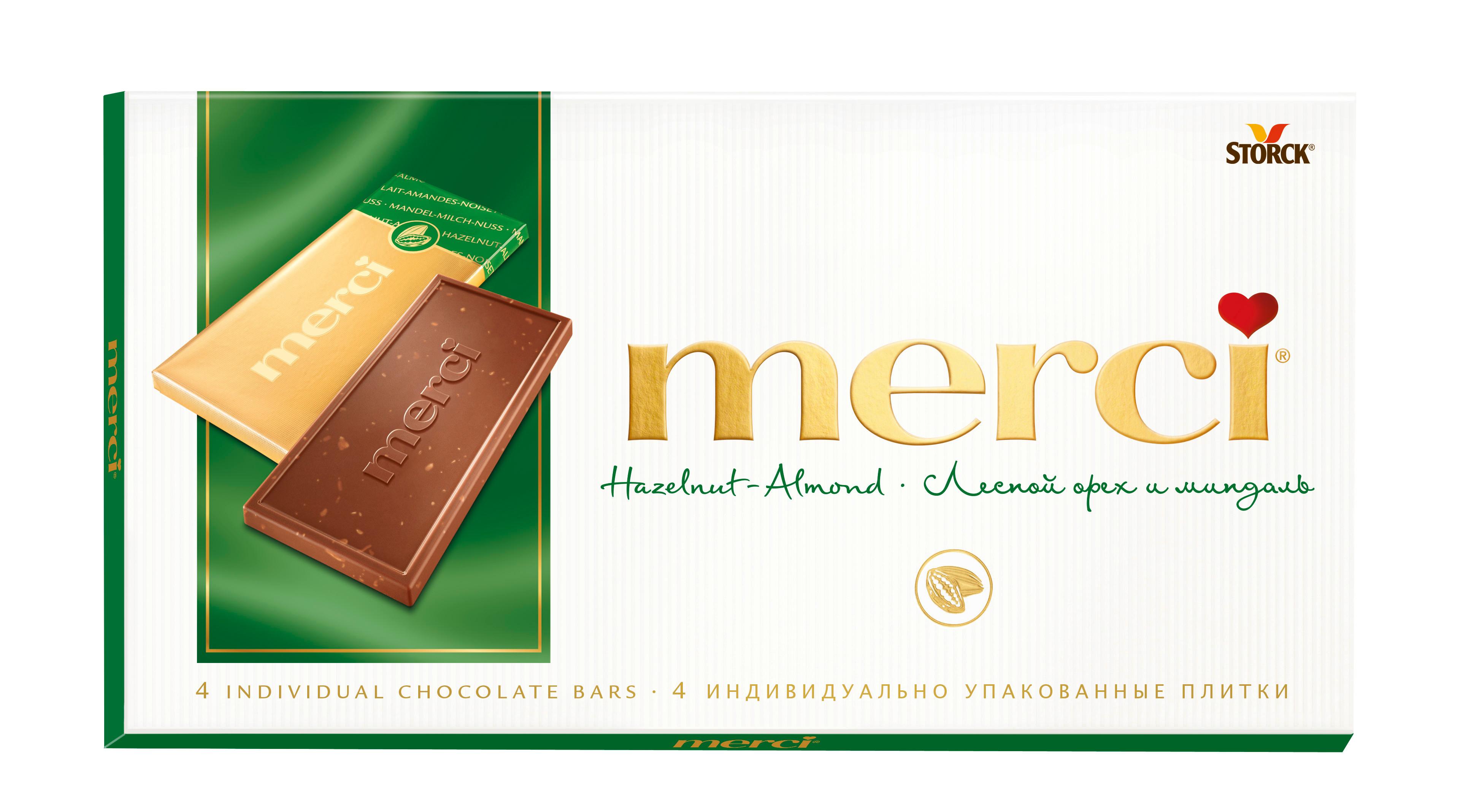 Шоколад молочный Merci с дробленым лесным орехом и миндалем 100 г фото