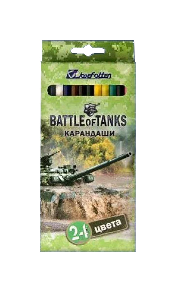 Купить Война танков 24 цвета, Карандаши цветные Beifa Война танков 24 цвета, Цветные карандаши