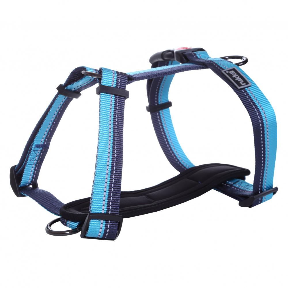 Шлейка для собак RUKKA Beam синяя, 30мм, обхват 55-85см фото