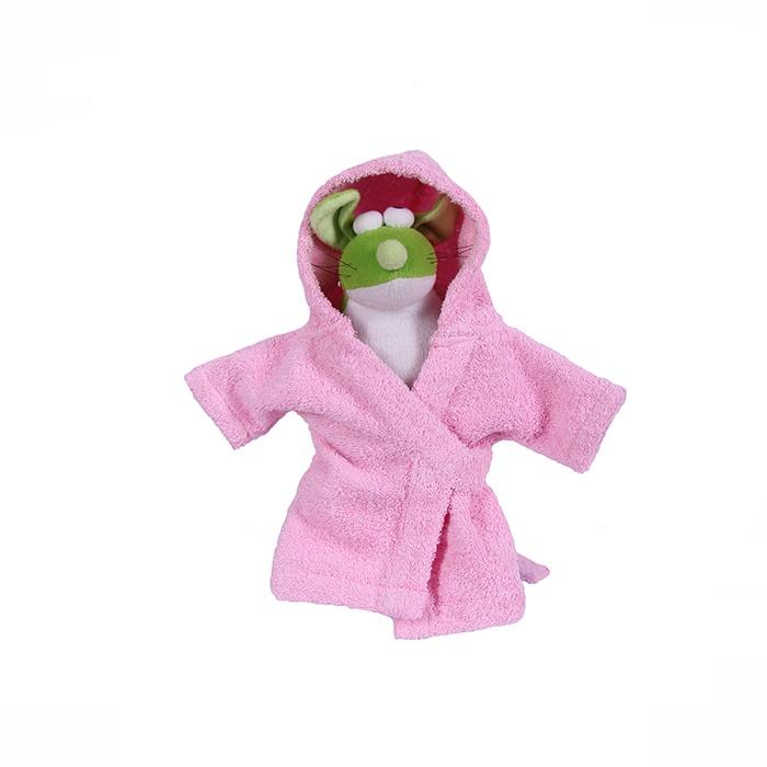 Халат для собак PrettyCat, розовый, M, спина 28-30см, объём груди до 41-43см