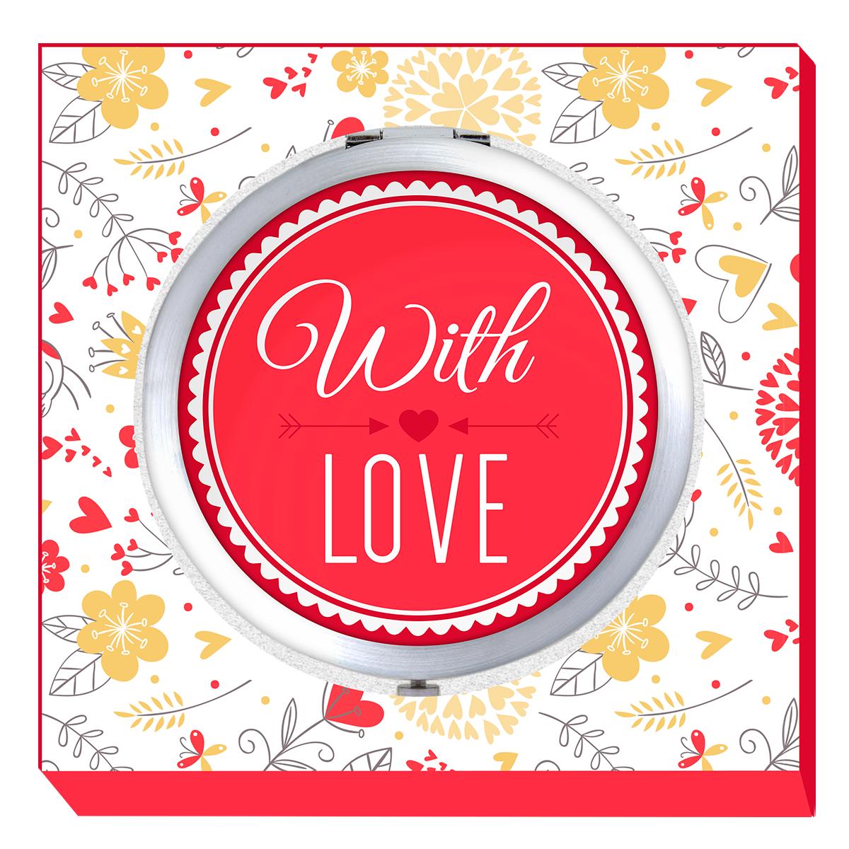 Купить Двойное карманное зеркальце Be Happy With love