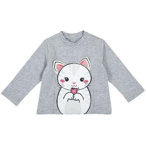 Купить 9006813, Лонгслив Chicco Котенок для девочек р.74 цв.светло-серый, Кофточки, футболки для новорожденных