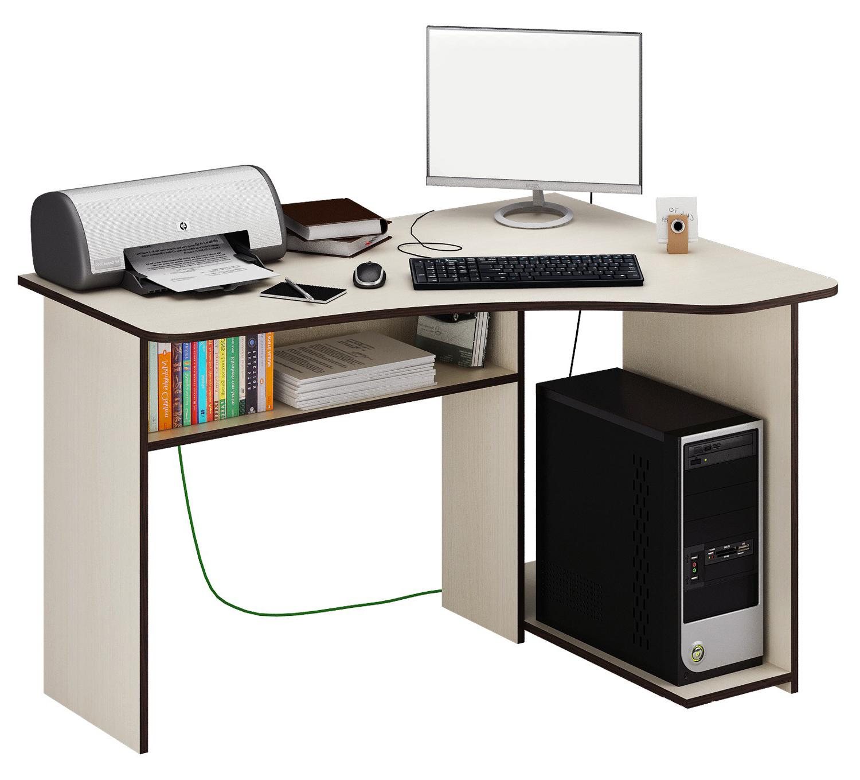 Компьютерный стол МФ Мастер Триан-1 120x90x75, дуб молочный