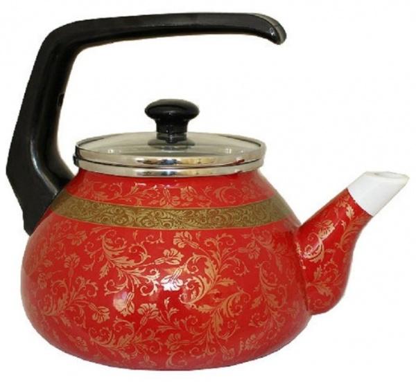 Чайник для плиты Interos Арабская ночь 2,2л эмалированный со стекл. кр.