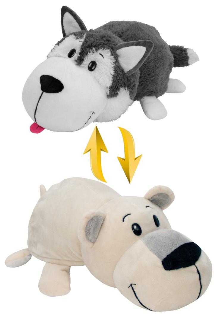 Купить Игрушка-вывернушка 1 TOY Хаски-Белый полярный медведь 40 см, Мягкие игрушки животные