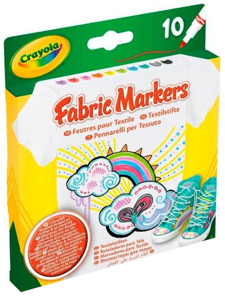 Купить Набор фломастеров для росписи по ткани Crayola Fabric Markers, 10 штук 58-8633, Фломастеры