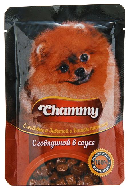 Влажный корм для собак Chammy, говядина в соусе,