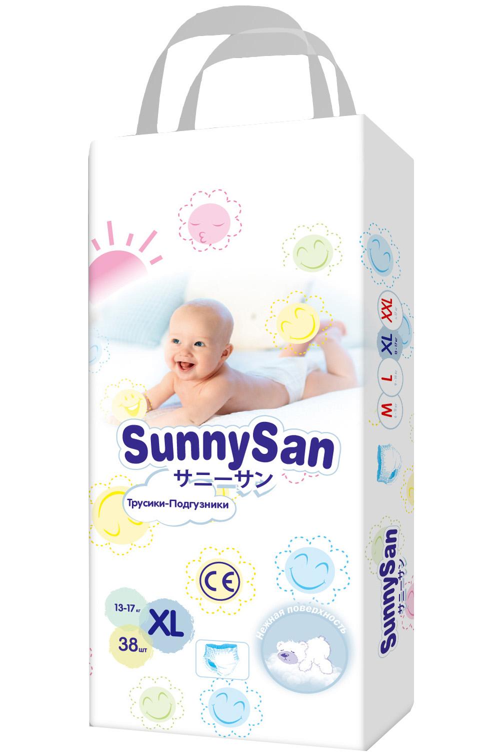 Купить Трусики-подгузники SunnySan XL 13-17 кг 38 шт., Подгузники-трусики