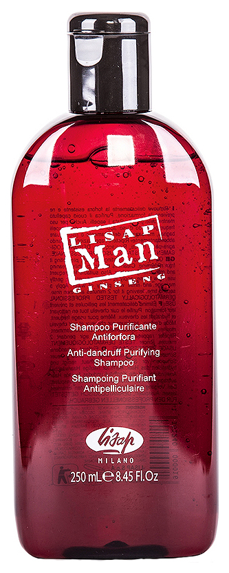 Шампунь мужской против перхоти Lisap Milano Anti-Dandruff Purifying Shampoo Man 250 мл фото