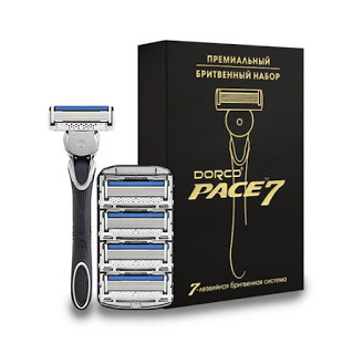 Бритвенный станок DORCO РАСЕ7 станок+ 5 кассет с золотым тиснением.