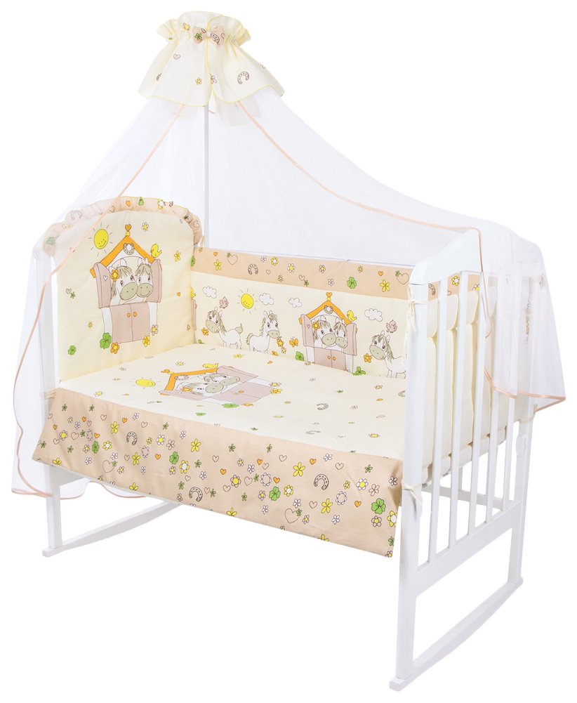 ЗОЛОТОЙ ГУСЬ Комплект в кроватку Лошадки (цвет: бежевый, 7 предметов) 1203
