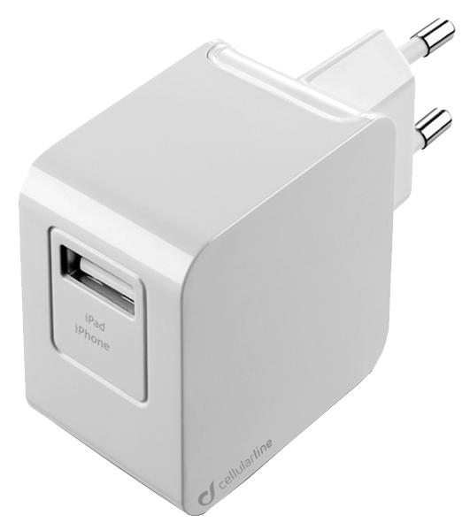 Сетевое зарядное устройство Cellular Line 1 USB 2A White ACHUSBMFIIPH2AW