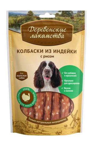 Лакомство для собак Деревенские лакомства Колбаски из индейки с рисом, 85г фото