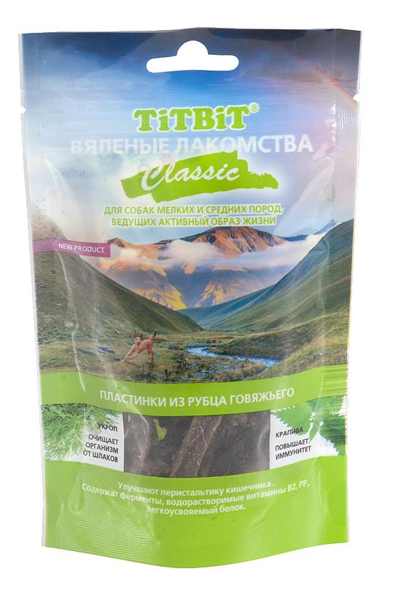 Лакомство для собак TiTBiT Вяленые лакомства, пластинки из рубца говяжьего Classic, 50г