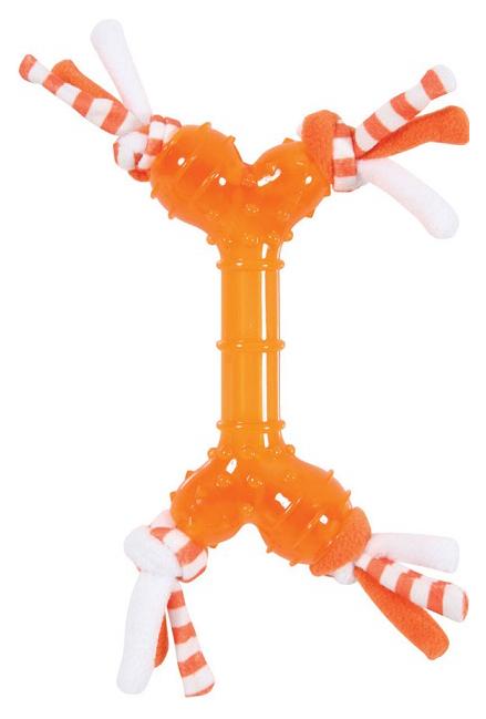 Жевательная игрушка для собак ZOLUX Кость с веревками, оранжевый, 30 см