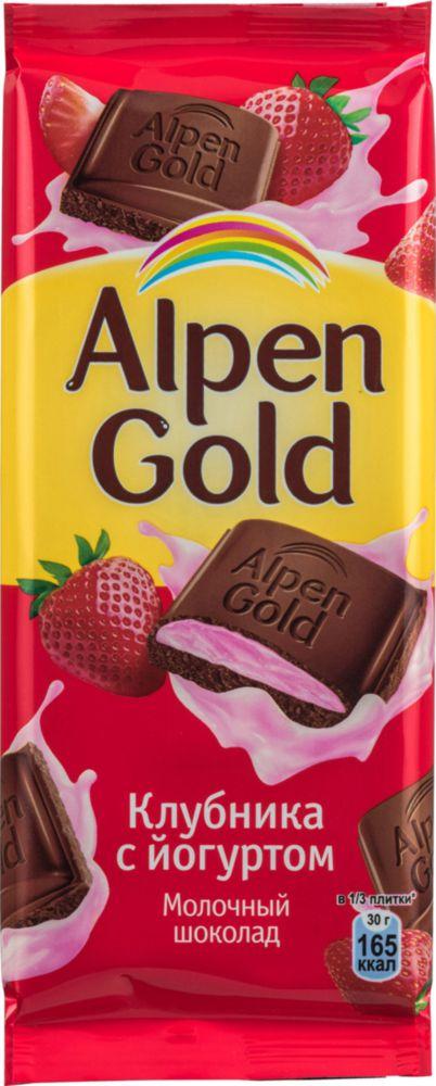 Шоколад молочный Alpen Gold клубника с йогуртом 90 г фото