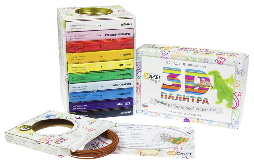 Купить 3D Палитра Watson Набор PLA-пластика для рисования 3D ручками, 10 цветов, Даджет,
