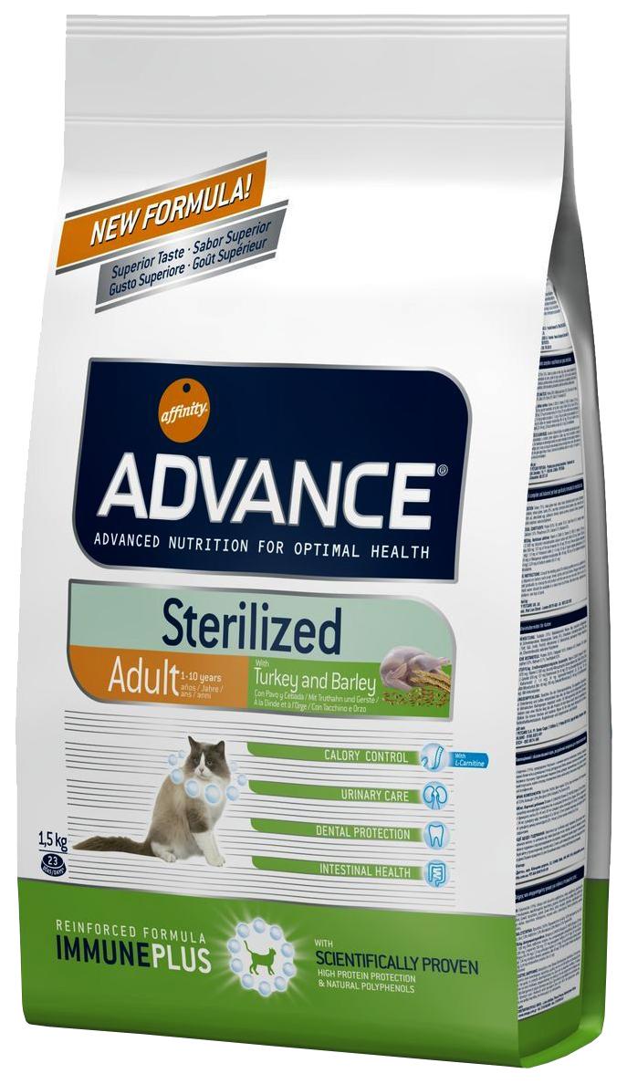 Сухой корм для кошек Advance Sterilized, для стерилизованных, индейка, 1,5кг фото
