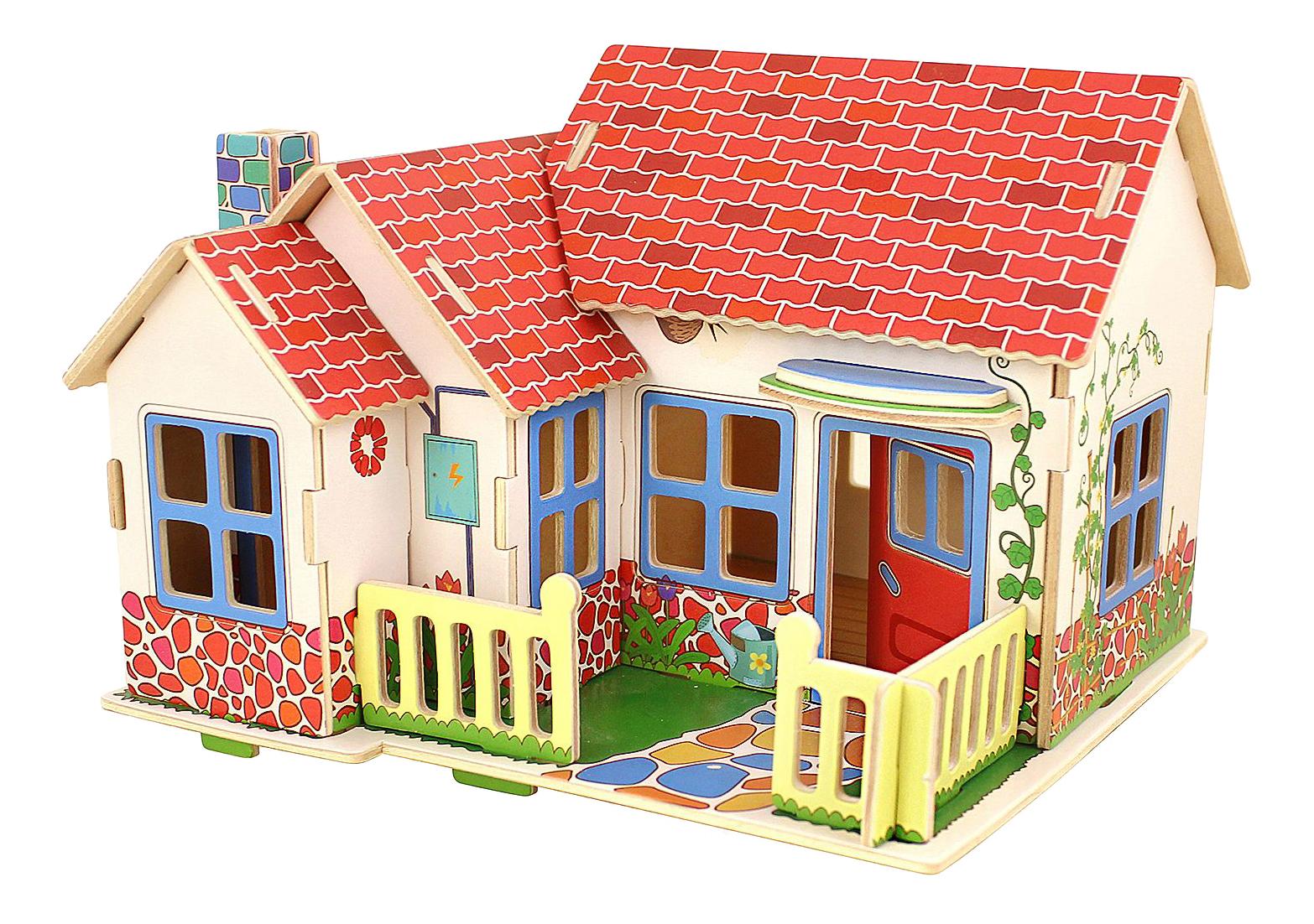 Купить Деревянный домик в деревне, 3D-пазл Bondibon 27 деталей,