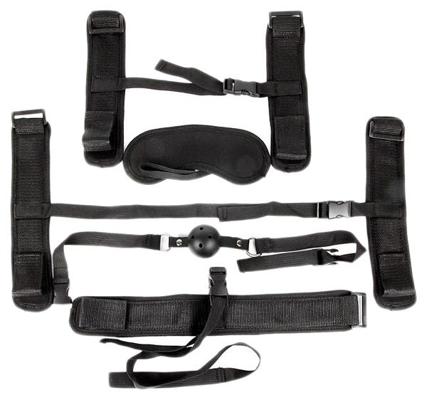 Набор БДСМ Bior toys черный текстильный: наручники, оковы, ошейник с поводком, кляп, маска
