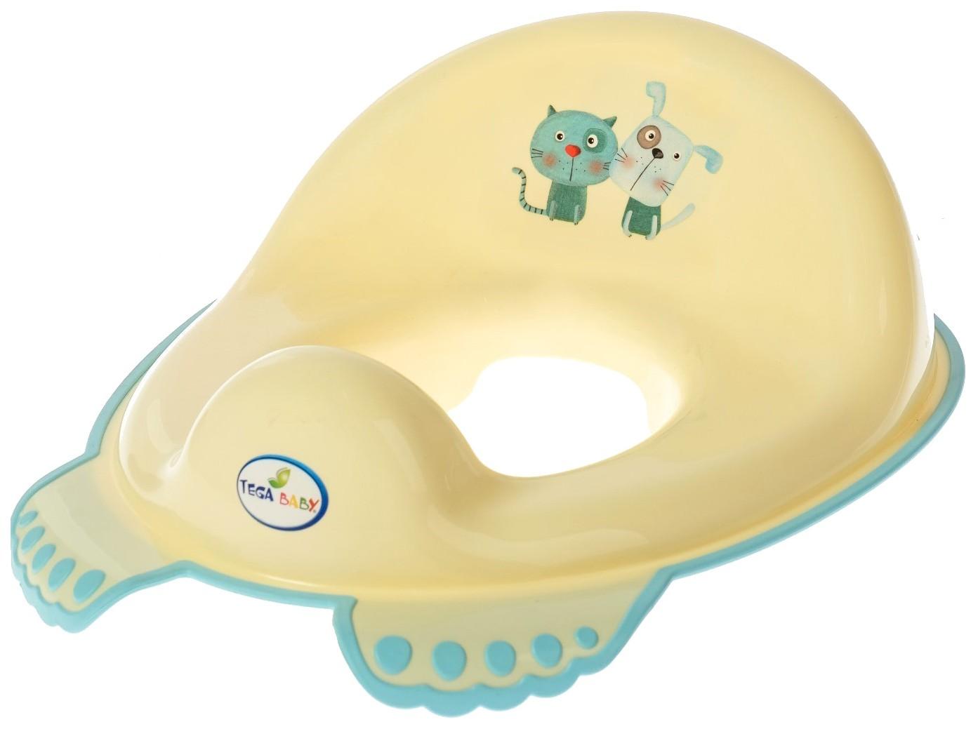 Купить Накладка на унитаз «КОТ и ПЁС», нескользящая, цвет жёлтый Tega Baby, Детская накладка на унитаз