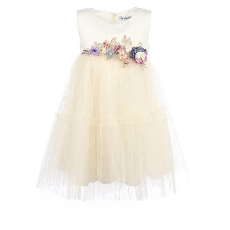 Платье Ангел-плиссе UNONA D'ART, цв. белый, 134 р-р, Детские платья и сарафаны  - купить со скидкой