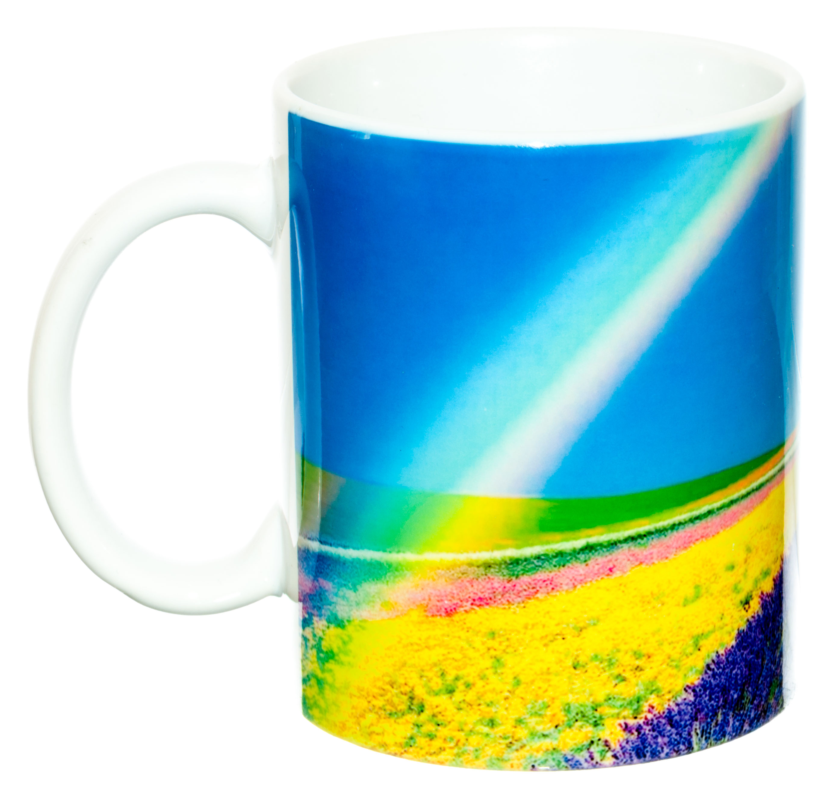 Керамическая кружка 3Dollara Летняя радуга над цветочным полем. MUG0343