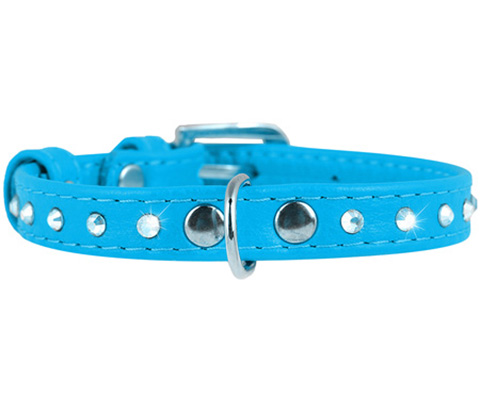 Ошейник для собак Collar Glamour, кожаный с клеевыми стразами, синий, 12мм, 21-29 см фото