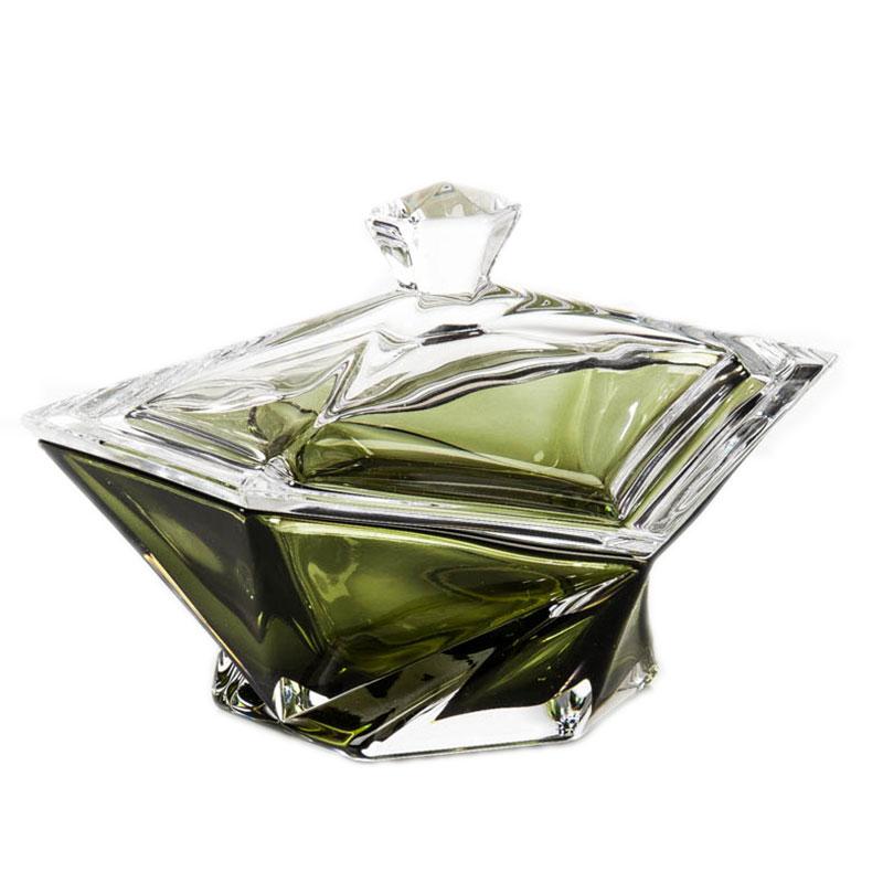 Конфетница с крышкой Crystalite Bohemia Оригами 16см,