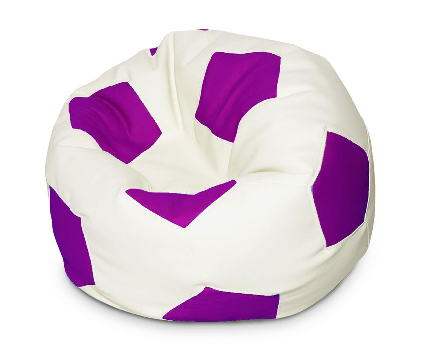 Кресло-мяч Папа Пуф Мяч, размер XL, экокожа, фиолетово-белый фото