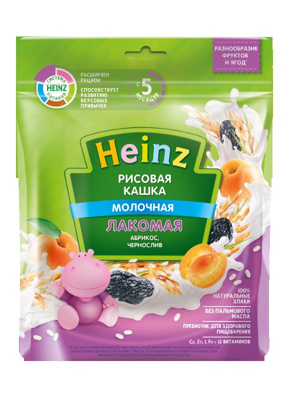 Каша молочная Heinz лакомая рисовая абрикос, чернослив, 5 мес., 8 шт
