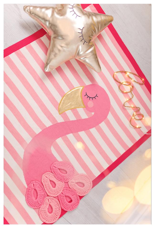 Купить Одеяло Bizzi Growin (Биззи Гровин) Flamingo 70*90 с аппликацией BG025, Одеяла для новорожденных