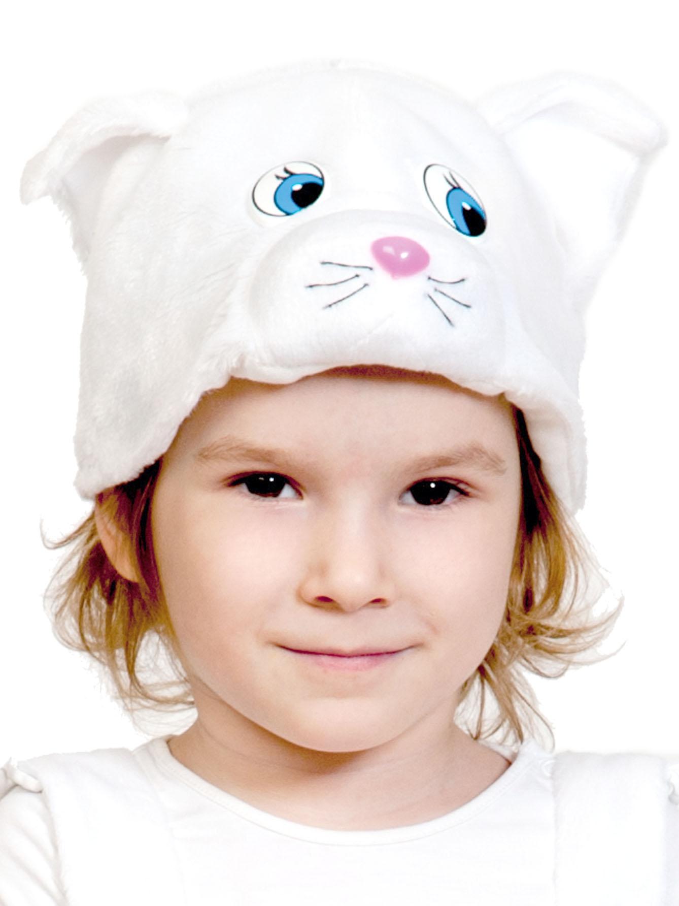 Карнавальная маска шапка Карнавалофф Кошечка белая (размер