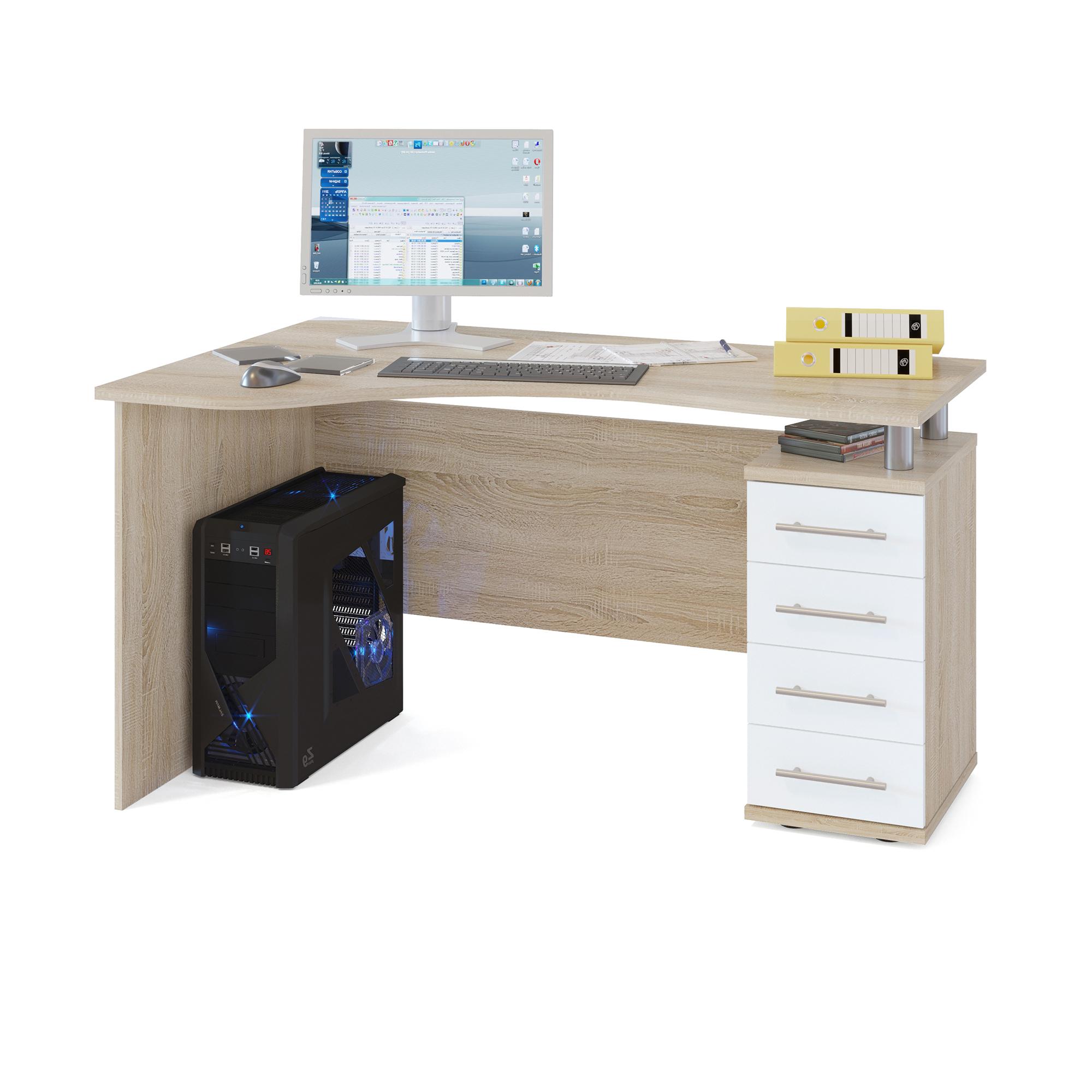 Компьютерный стол СОКОЛ КСТ-104.1П 140x86x75, дуб сонома/белый