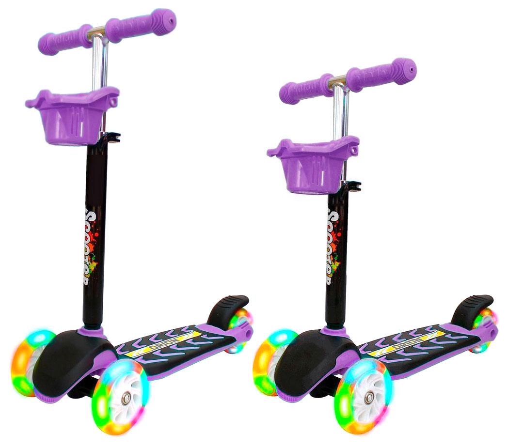 Купить Самокат RT MIDI ORION со светящимися колесами фиолетовый, R-TOYS, Самокаты детские трехколесные