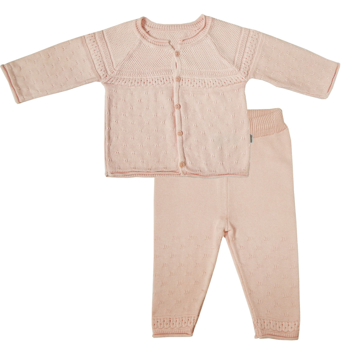 Купить Комплект Папитто вязаный: кофточка и штанишки Испанка Розовый 73-7001 р.22-74, Комплекты для новорожденных
