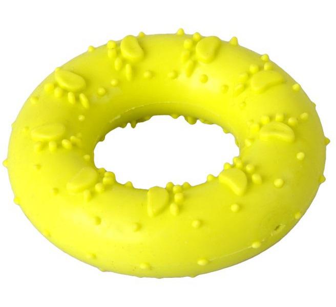 Жевательная игрушка для собак HOMEPET Кольцо с рисунком лапки, желтый, длина 7 см