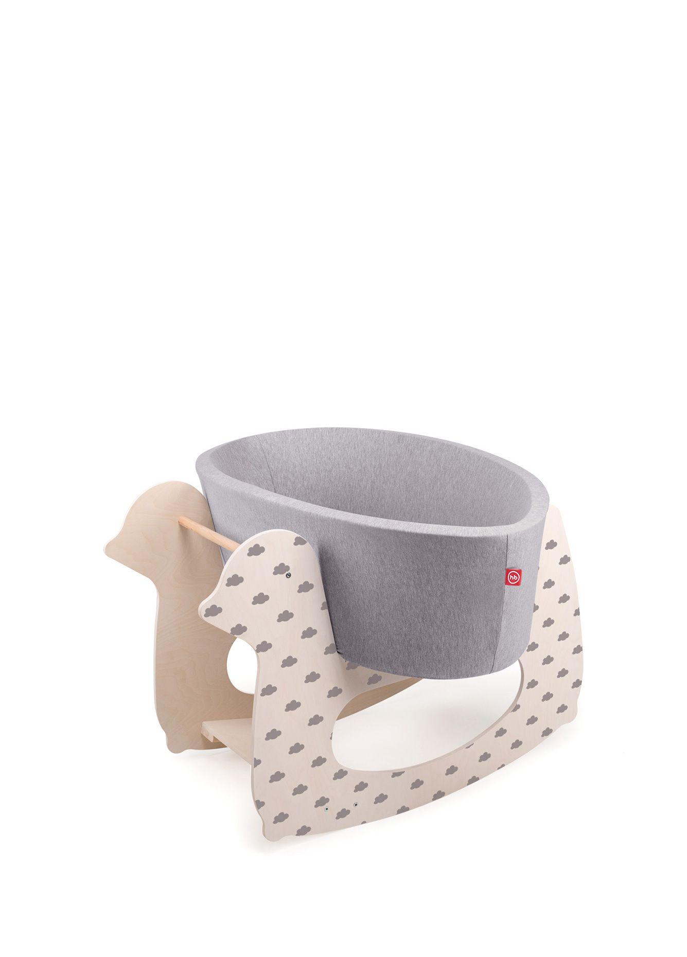 Люлька Happy baby milly в наборе с качалкой (цвет люльки – серый, качалки – облачко)