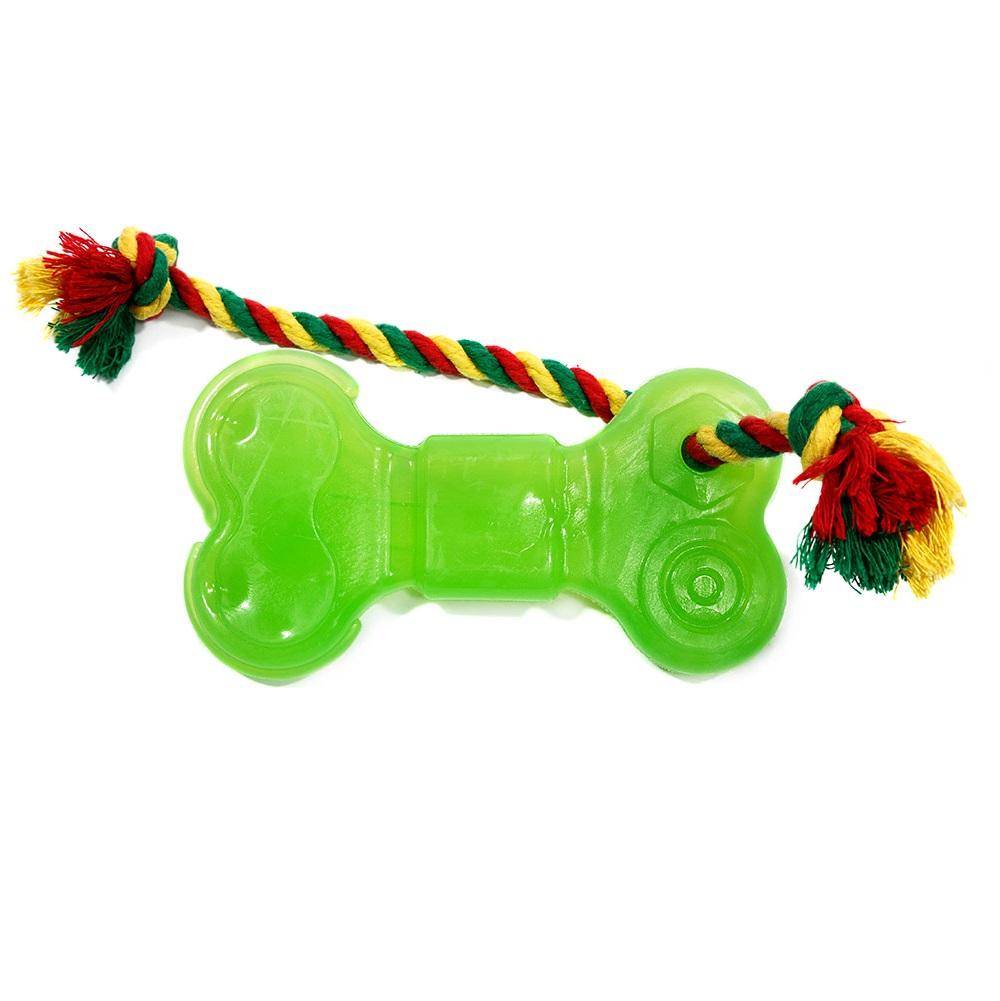 Жевательная игрушка для собак DOGLIKE Кость большая с канатом и этикеткой, длина 16 см