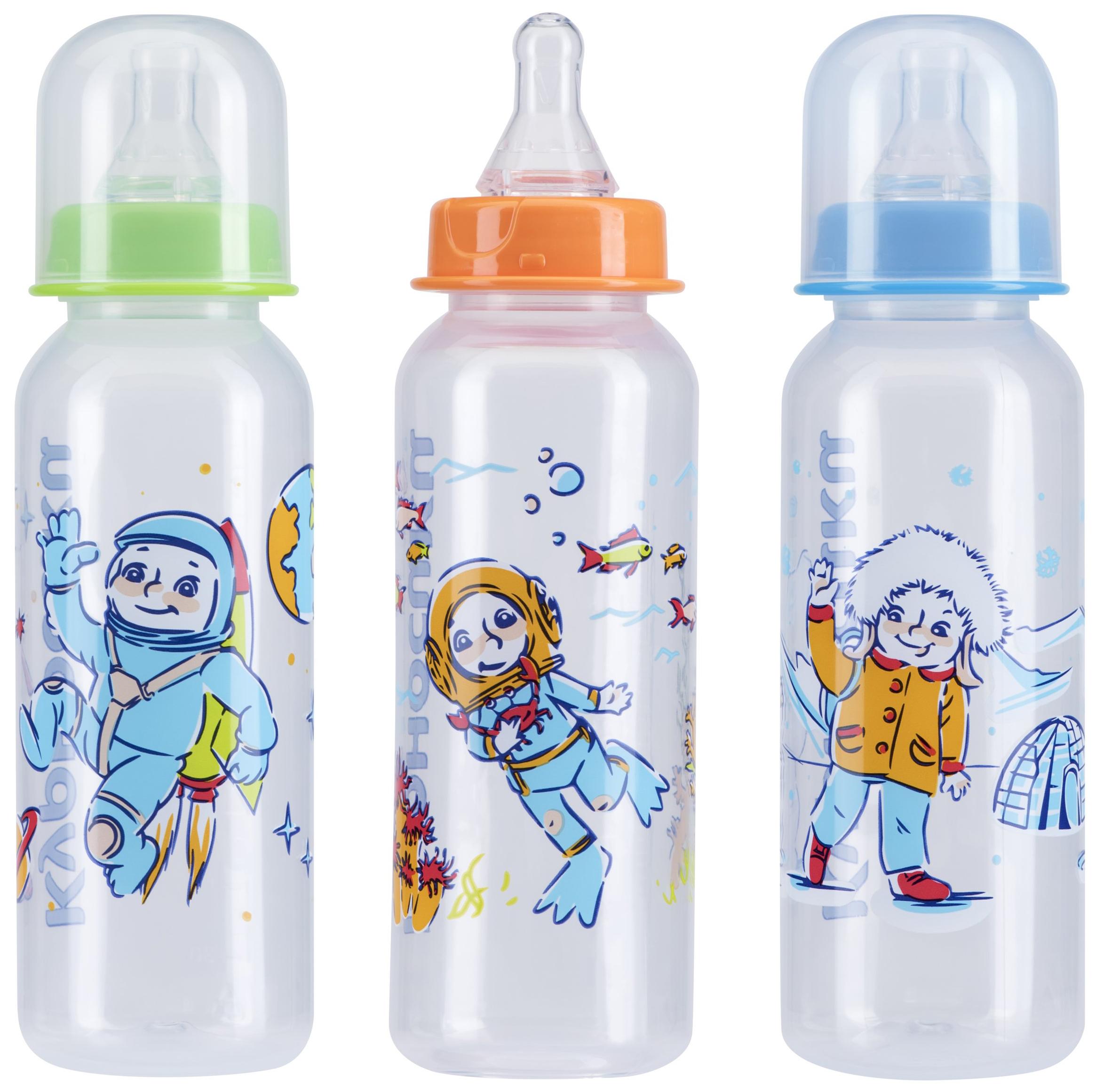 Детская бутылочка Курносики Первые друзья 1М 240 мл с силиконовой соской