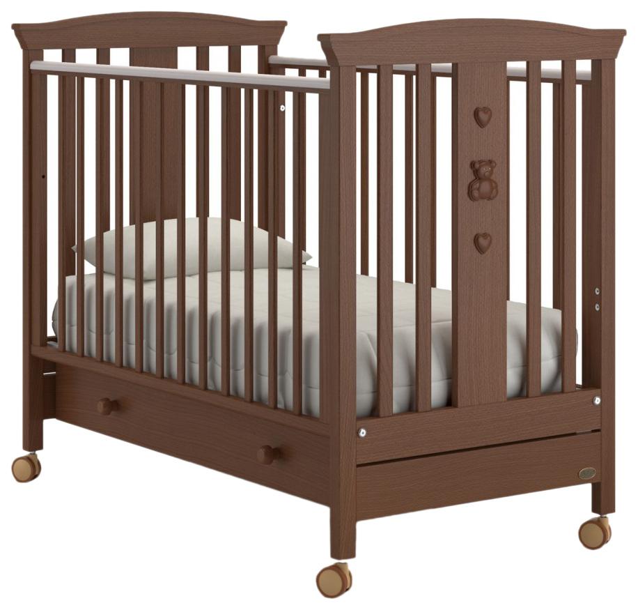 Кроватка Nuovita Fasto Swing маятник продольный noce scuro тёмный орех,  - купить со скидкой